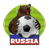 Bear with a soccer ball. Bear with a soccer ball and the flag of Russia Royalty Free Illustration