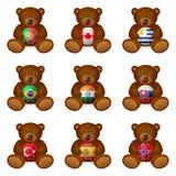 Bear soccer ball flag Stock Photography