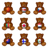 Bear soccer ball flag Royalty Free Stock Images
