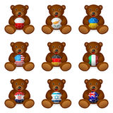 Bear soccer ball flag Royalty Free Stock Photography