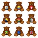 Bear soccer ball flag Royalty Free Stock Image