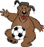Bear soccer player beats the ball with his foot royalty free illustration