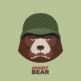 Bear soldier.Head of angry bear in military helmet Stock Image