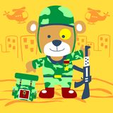 Bear soldier vector Stock Image