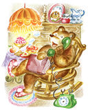 Bear speaks on phone. Bear, sitting in rocking chair, speaks on the phone Royalty Free Stock Photos