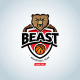 Bear sport logo. Basketball logo template, basketball logotype, badge logo design template, sport logotype template. Royalty Free Stock Photo