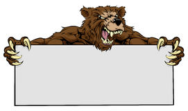 Bear Sports Mascot Sign Stock Image