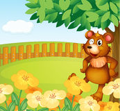 A bear standing near the flowers Royalty Free Stock Photo
