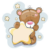 Bear with star. Teddy Bear with Star on a stars background Stock Image