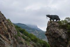 Bear Statue Kajaran`s Key in Kapan Qajaran way, Syunik province of Armenia. The name Kajaran is derived from the Armenian word Kaj meaning brave, and the suffix stock photo