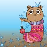 Bear stocking xmas ball cute Royalty Free Stock Image