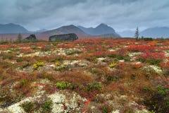 Bear Stone. Autumn in the mountains of Ridge Big Anngachag Stock Photo