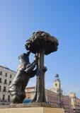 Bear with strawberry tree, Madrid, Spain. Bear with strawberry tree - symbol of Madrid, Spain stock images