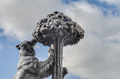 Bear and Strawberry Tree Statue in Madrid, Spain. Statue of the Bear and the Strawberry Tree (Oso y el Madrono), sculpture which represents the heraldic arms of royalty free stock photos
