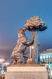 Bear and Strawberry Tree Statue in Madrid, Spain. Stock Photos