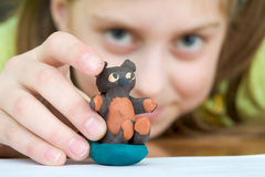 Bear stuck together from plasticine Royalty Free Stock Image
