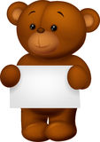 Bear stuff holding blank paper Royalty Free Stock Images