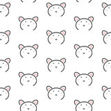Bear stylized line fun seamless pattern for kids and babies. Stock Photography