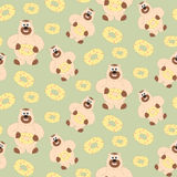 Bear with sweetness pattern. Seamless vector texture. Illustration of funny friendly animal bear with sweet. For card, print, web, decor, paper, textile, fabric Royalty Free Stock Photo
