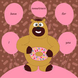 Bear with sweetness. Vector illustration of funny friendly animal bear with sweet and balloons. For birthday card, print, web, decor, paper Royalty Free Stock Images