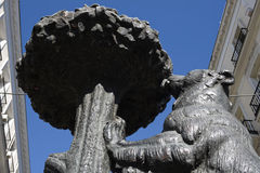 The bear symbol of Madrid. Detail of bear and the strawberry tree statue. Puerta del Sol - Madrid, Spain Royalty Free Stock Image