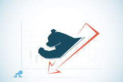 Bear symbol with red and candlestick chart, stock market and business concept Royalty Free Stock Photos