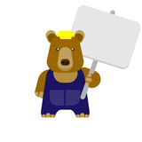 Bear with tablet Stock Photo