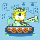 Bear and tank vector. For scrapbook and wallpaper Royalty Free Stock Photos