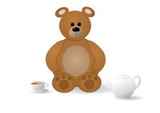 Bear with tea Stock Photography
