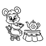 Bear Tea Breakfast coloring page Royalty Free Stock Image