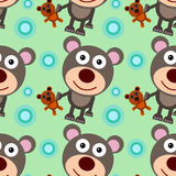 Bear with teddy bear seamless background design Stock Images