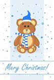 Bear teddy. postcard greetings happy new year and merry Christmas Stock Photography