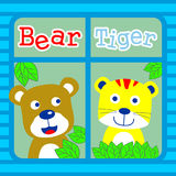 Bear and tiger. Cute bear and tiger is best friend Stock Image