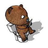 Bear on Toilet Royalty Free Stock Photos