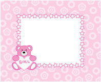 Bear toy. The beautiful nursery frame for text with bear in the manner embroider. Vector illustration Royalty Free Stock Photography
