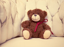 Bear toy on armchair in room Royalty Free Stock Photography