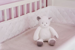 Bear toy on a bed in  a baby pink room Royalty Free Stock Images