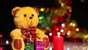 Bear Toy and Candles. Bear Toy  and Candles video very useful in valentines day birthday or new year concept stock video