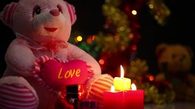 Bear Toy and Candles. Bear Toy  and Candles video very useful in valentines day birthday or new year concept stock footage