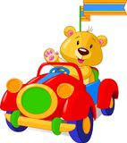 Bear in Toy Car Royalty Free Stock Images