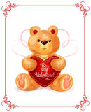 Bear toy with heart for Valentine Day card design. Valentine Day greeting card of lovely bear toy holding red heart in paws with text Be My Valentine. Cute plush Royalty Free Stock Images