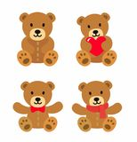 Bear toy icon set. Vector flat style Royalty Free Stock Images