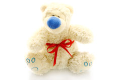 Bear toy with red bow Stock Photo