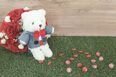 Bear toy with rose Royalty Free Stock Images