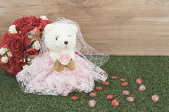 Bear toy with rose Royalty Free Stock Photo
