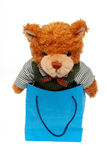 Bear toy on a Shopping bag. With path royalty free stock photography