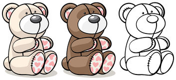 Bear toy in two colors and outline Stock Images