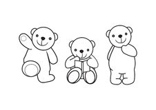 Bear toys 1. Icon silhouette of a smiling bears Royalty Free Stock Photo
