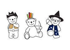 Bear toys 2. Icon silhouette of a smiling toy American Indian, cowboy and wizards Royalty Free Stock Image