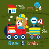 Bear and train funny cartoon,vector illustration. For t shirt and wallpaper or book vector illustration